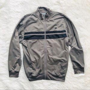 Nike Grey Black Stripe Zip Athletic Track Jacket L